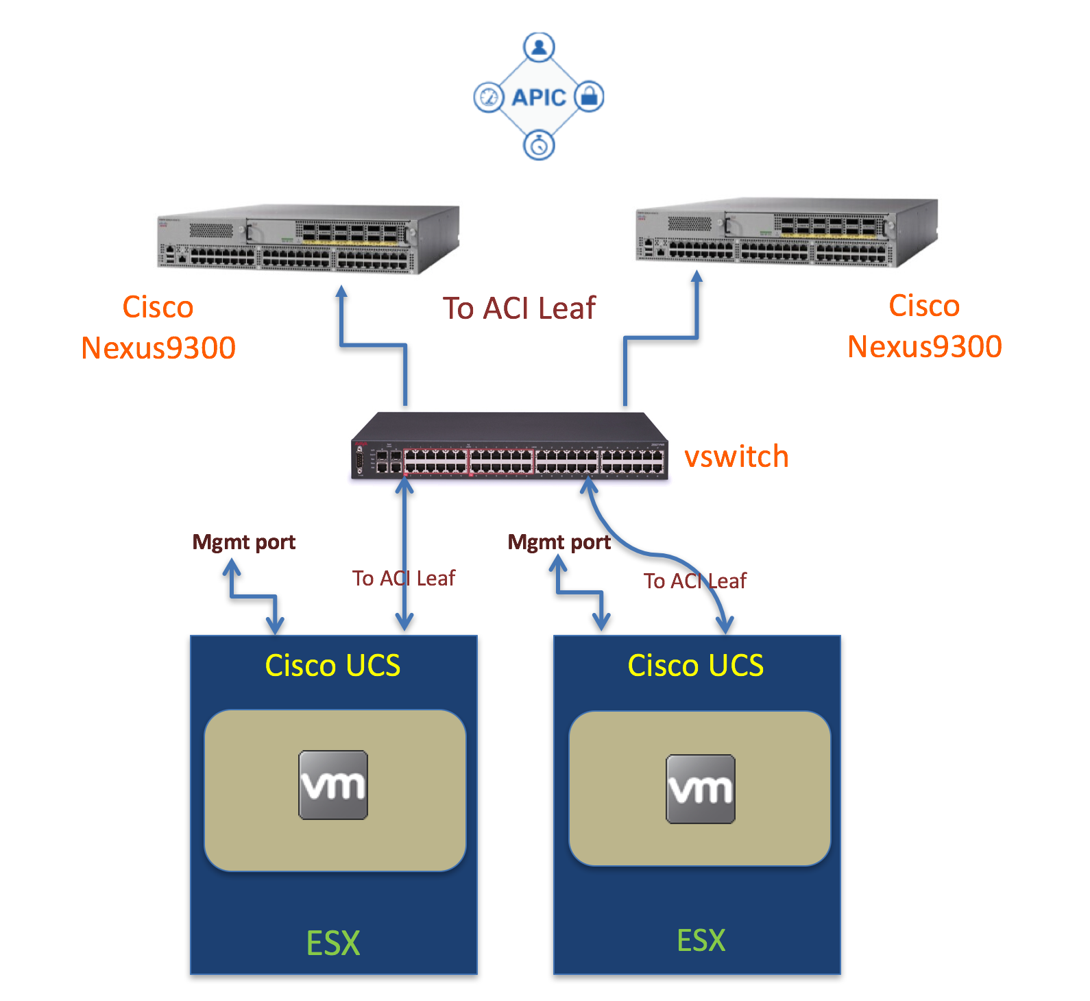 Each VM has two interfaces one for the management network and the other interface connects to the ACI leaf Below is the a logical diagram on the VMs are